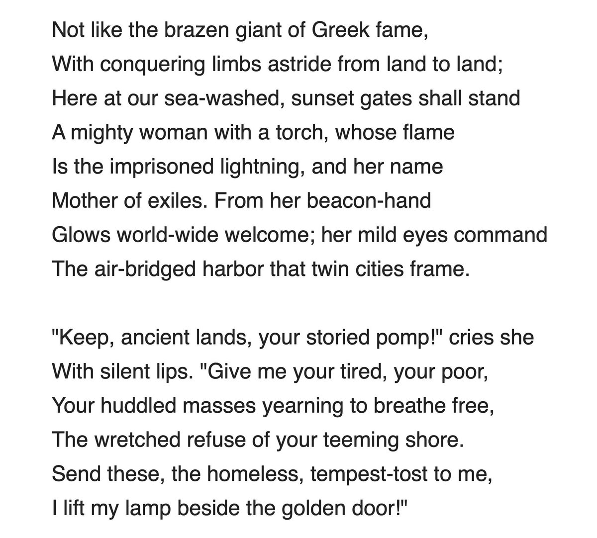 "Media: Next time @KenCuccinelli @USCISCuccinelli spews ""Statue of Liberty phrase meant only Europeans"" lie, hit him with this: The sonnet by Emma Lazarus that appears on the statue specifically states our beacon is shining a ""world-wide welcome."" That is not ""White folks only."""