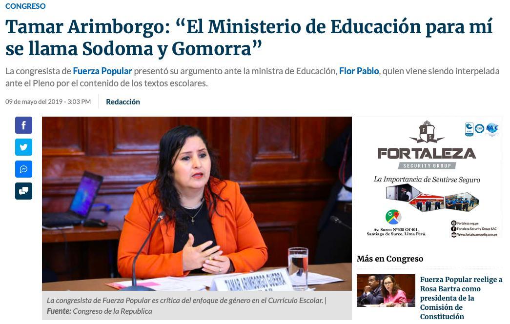 """CLADEM Perú 🇵🇪 #EmbarazoInfantilEsTortura on Twitter: """"Nos preocupa que  Tamar Arimborgo, parlamentaria que afirmó meses atrás que el  #EnfoqueDeGénero causa """"cáncer y SIDA"""" y que calificó al Ministerio de  Educación como """"Sodoma"""