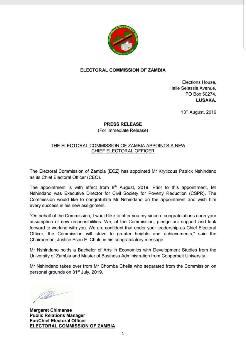 ELECTORAL COMMISSION OF ZAMBIA – ELECTORAL COMMISSION OF