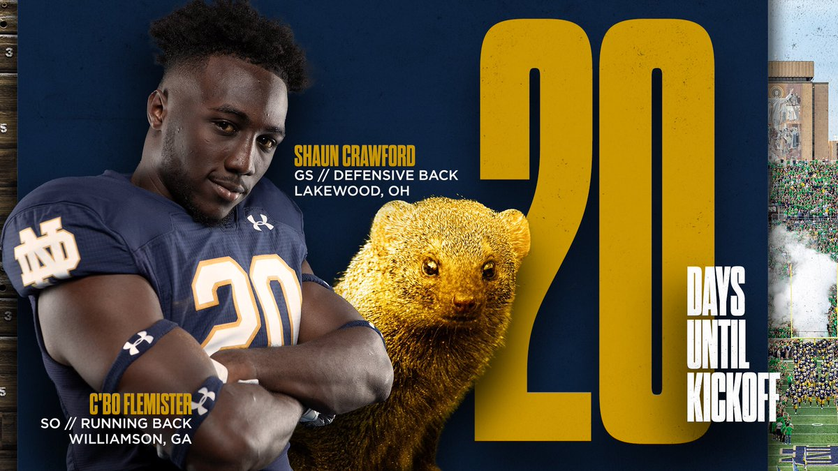 20 days until we're back with the Golden Mongoose (@ShaunCrawf20) and @c_borius.  #GoIrish ☘️
