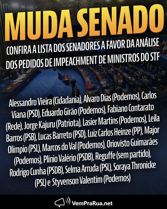 Confira a lista dos senadores a favor da análise dos pedidos de impeachment de Ministros do STF. Nosso parabéns a todos eles!