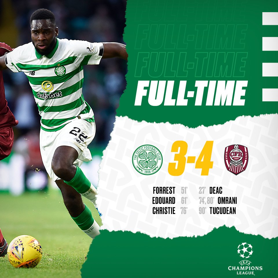 The Hoops are knocked out of the @ChampionsLeague.  #CELCLU #UCL https://t.co/DwEM8i3HTv