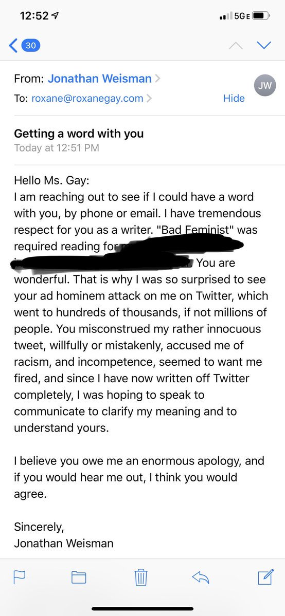 The pissy emails Jonathan Weisman sent to Roxane Gay and her assistant are unbelievably cursed