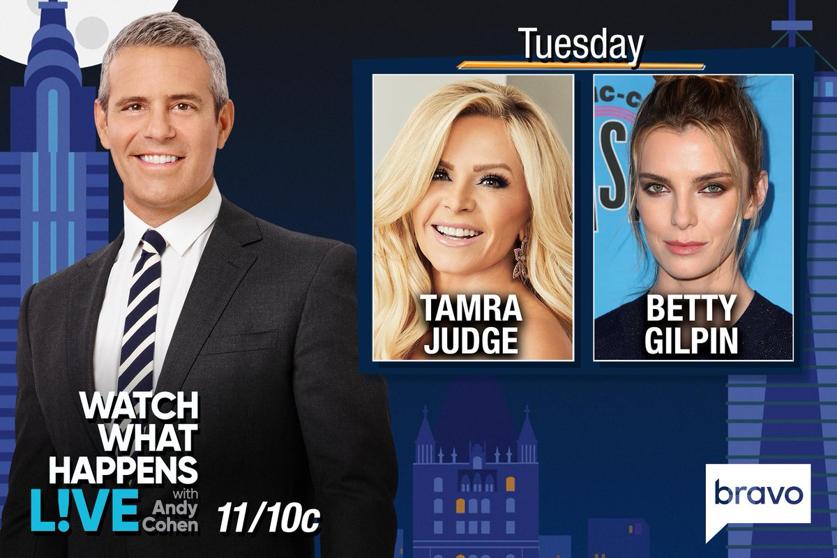TONIGHT at 11/10c we're LIVE w/ #BettyGilpin & @TamraBarney! Start tweeting @Andy your questions!
