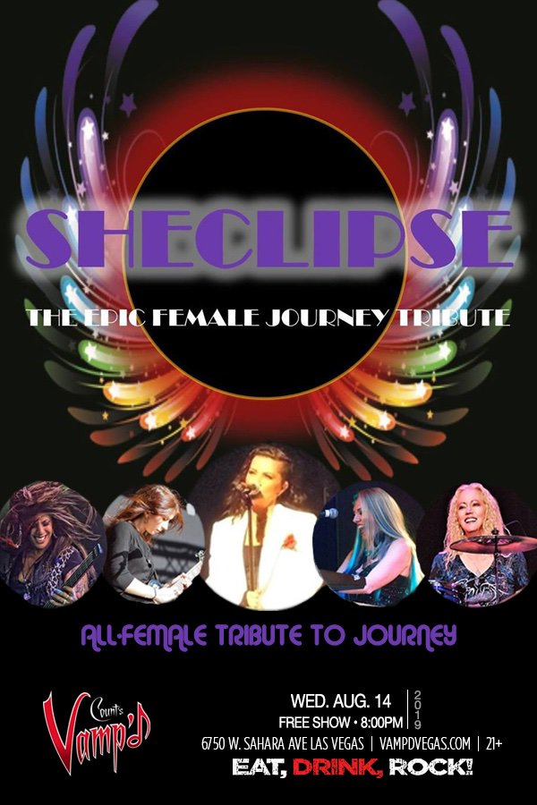 This Wednesday 8/14 Sheclipse - The World's Only Female Journey Tribute kicks off 4 nights of great #live #rocknroll #free @VampdVegas! #dontstopbelievin #countsvampd  #eatdrinkrock<br>http://pic.twitter.com/RUp1VRQX2d
