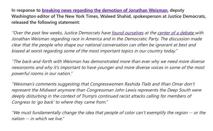 Justice Democrats put out a statement about the NYT demoting Jonathan Weisman