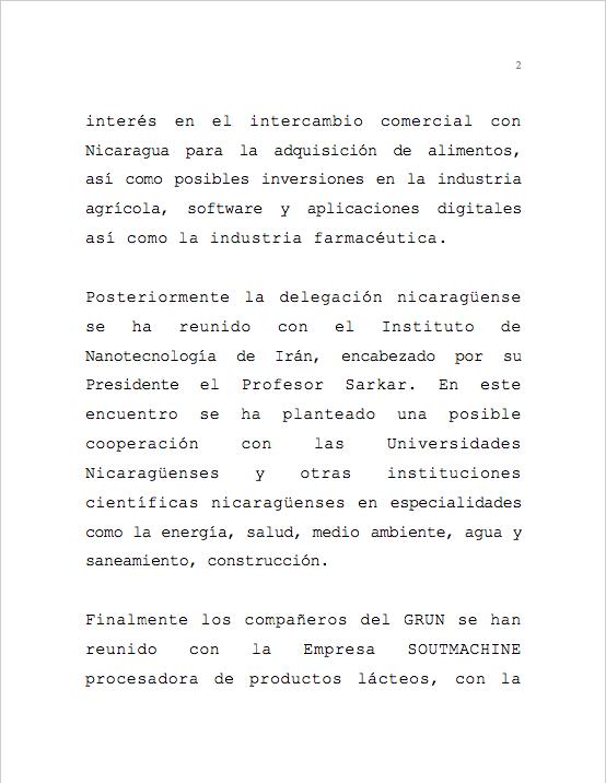 Delegación de Nicaragua refuerza vínculos comerciales y científicos con Irán