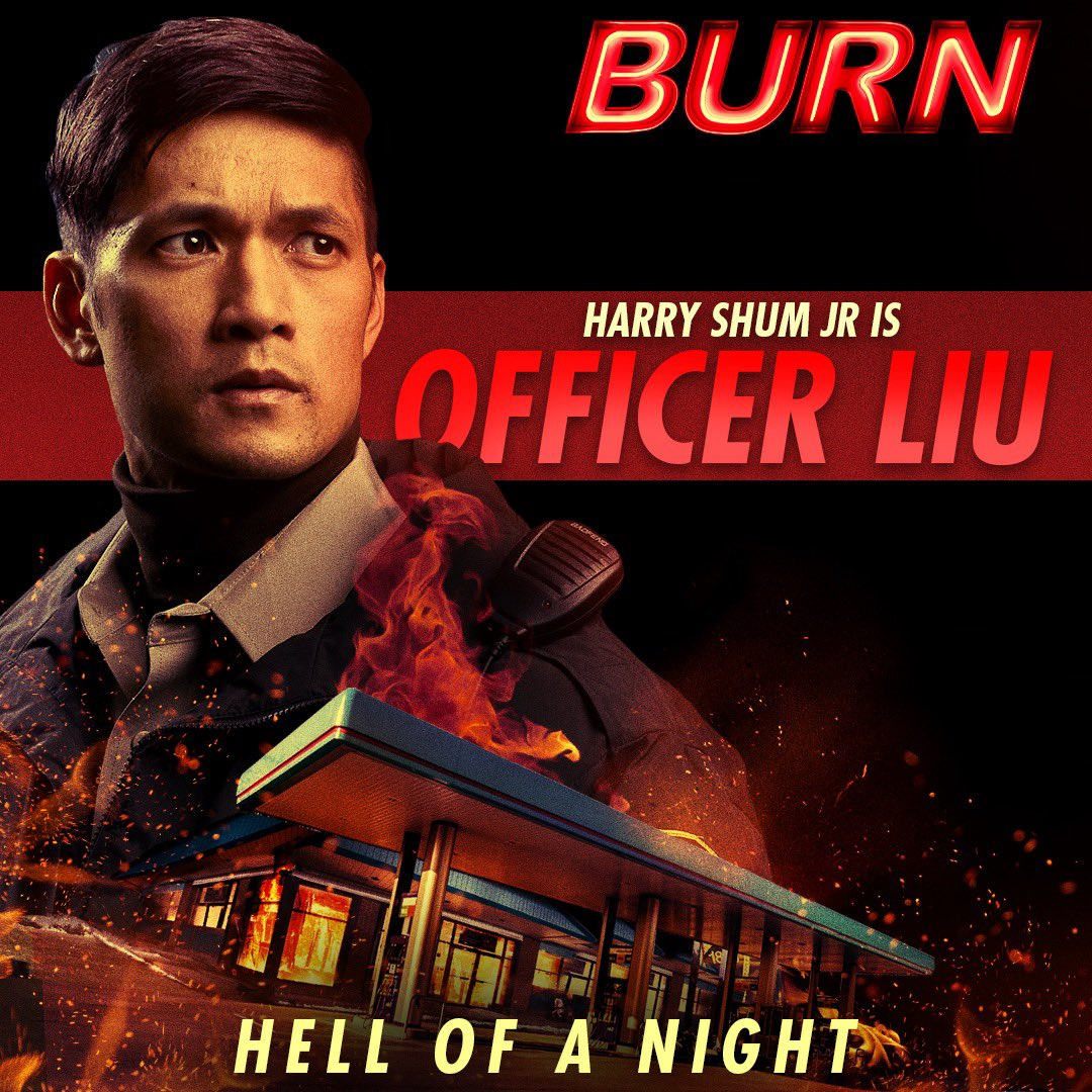 Meet Officer Liu! You can catch him on duty in @momentum_pics BURN! 🔥 In Theaters and On Demand Aug 23!
