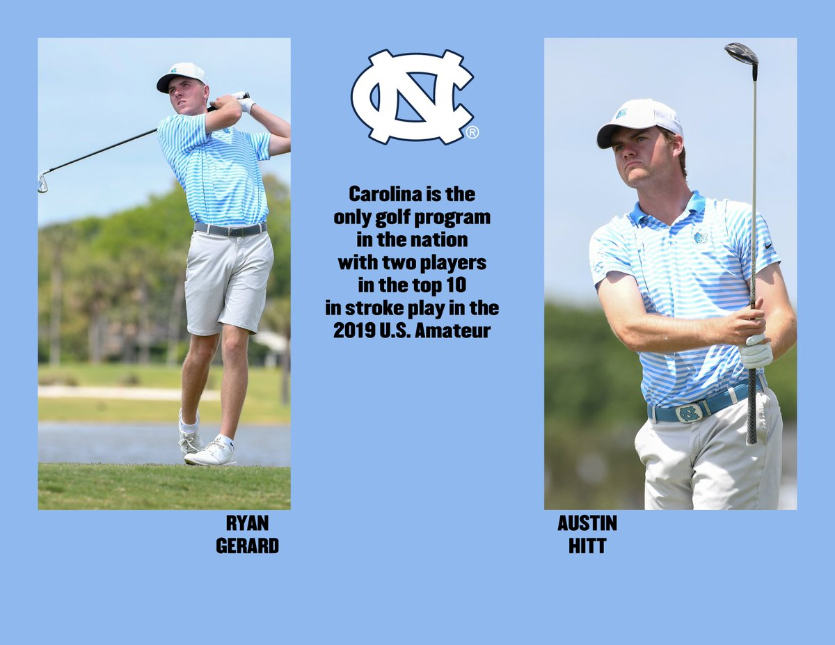 Here's the complete list of college golf programs with two players in the top 10 in stroke play at the 2019 U.S. Amateur  @UNCmensGolf   that's the list  Go Austin, Go Ryan, GoHeels #USAmateur<br>http://pic.twitter.com/BJEs9jxK1r