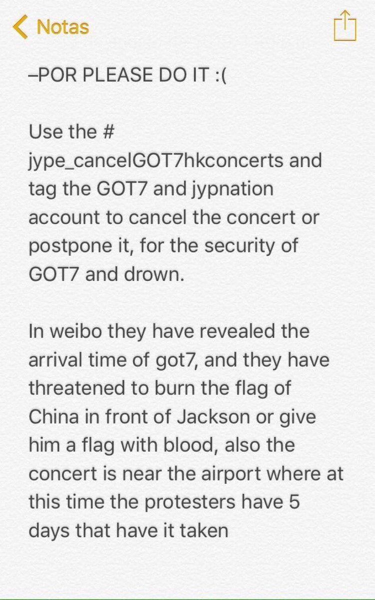 RT @mackenzie_9720: Please help to spread the word! #JYPE_CancelGOT7HKConcerts https://t.co/t12Hsi5Vap