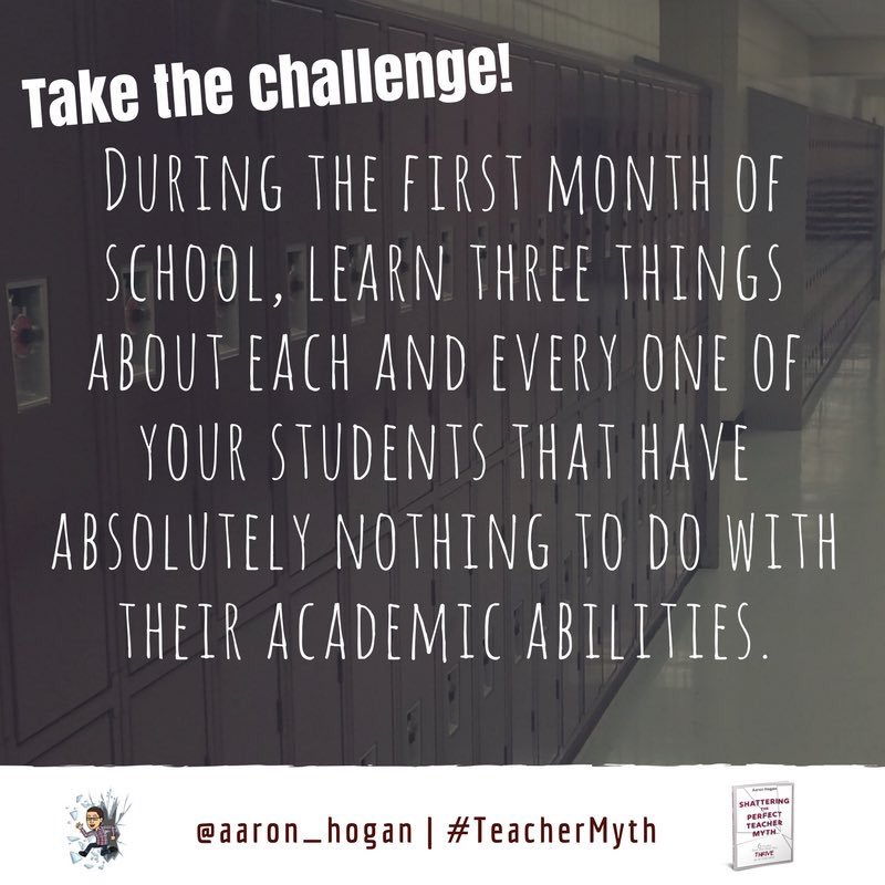 Who's up for this challenge as the school year starts? #TeacherMyth #edchat #TLAP #KidsDeserveIt