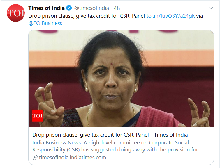 CSR Targets may effectively be achieved, when CSR as a Concept is instilled in the Minds of Corporate Management, and they Voluntarily Commit towards the Cause, rather than as a,a) Mandateb) Requirement for Tax Exemption@nsitharaman ji @narendramodi ji @SadhguruJV ji #CSR