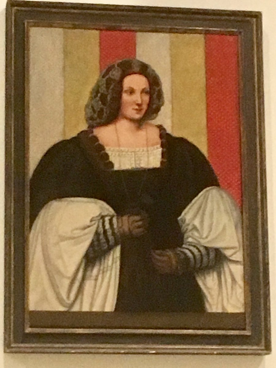 """16th C, Bernardino de' Conti """"Portrait of a Lady"""" spectacular in real life at my friend Robert Littman's home. de'Conti was a contemporary of Da Vinci! (Yes it's an actual Renaissance painting! Look at that headscarf/soft hat! Those gloves!! 😃) https://t.co/Q8Xx3ji8V8"""