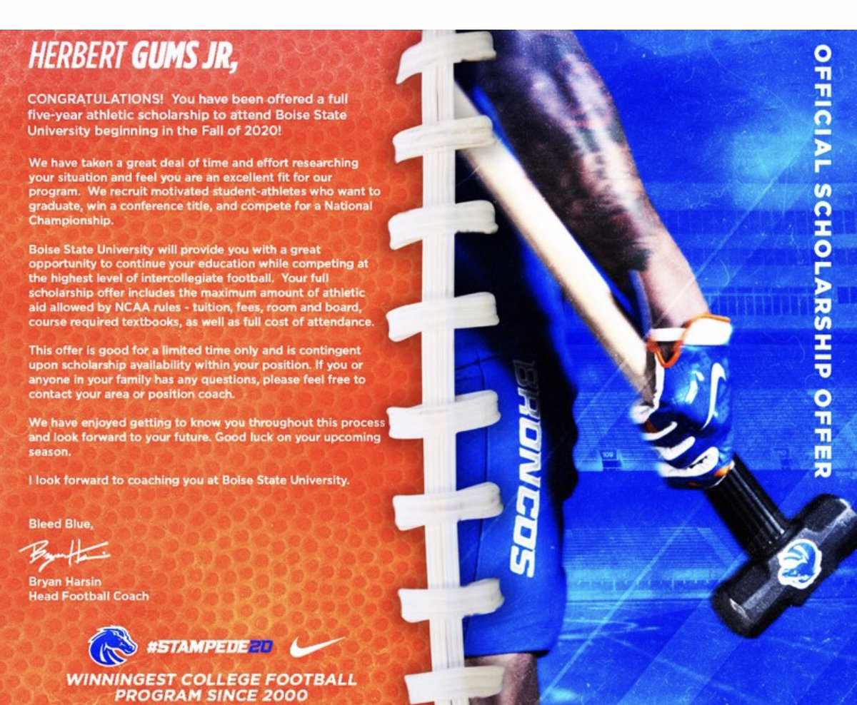 Blessed to receive a offer from the university of Boise State <br>http://pic.twitter.com/YEVVlTzCoe