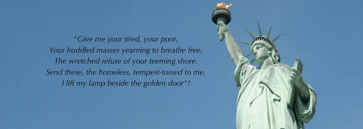 """More deflections from Trump's personal Criminal behavior and failures at every level... Now, it's by distorting the """"The New Colossus"""" poem by Emma Lazarus, on Statute of Liberty.  May sound like a joke, but it is not.  #CuccinelliResign  #TrumpIsADisgustToAmerica<br>http://pic.twitter.com/RCkQbRSenS"""