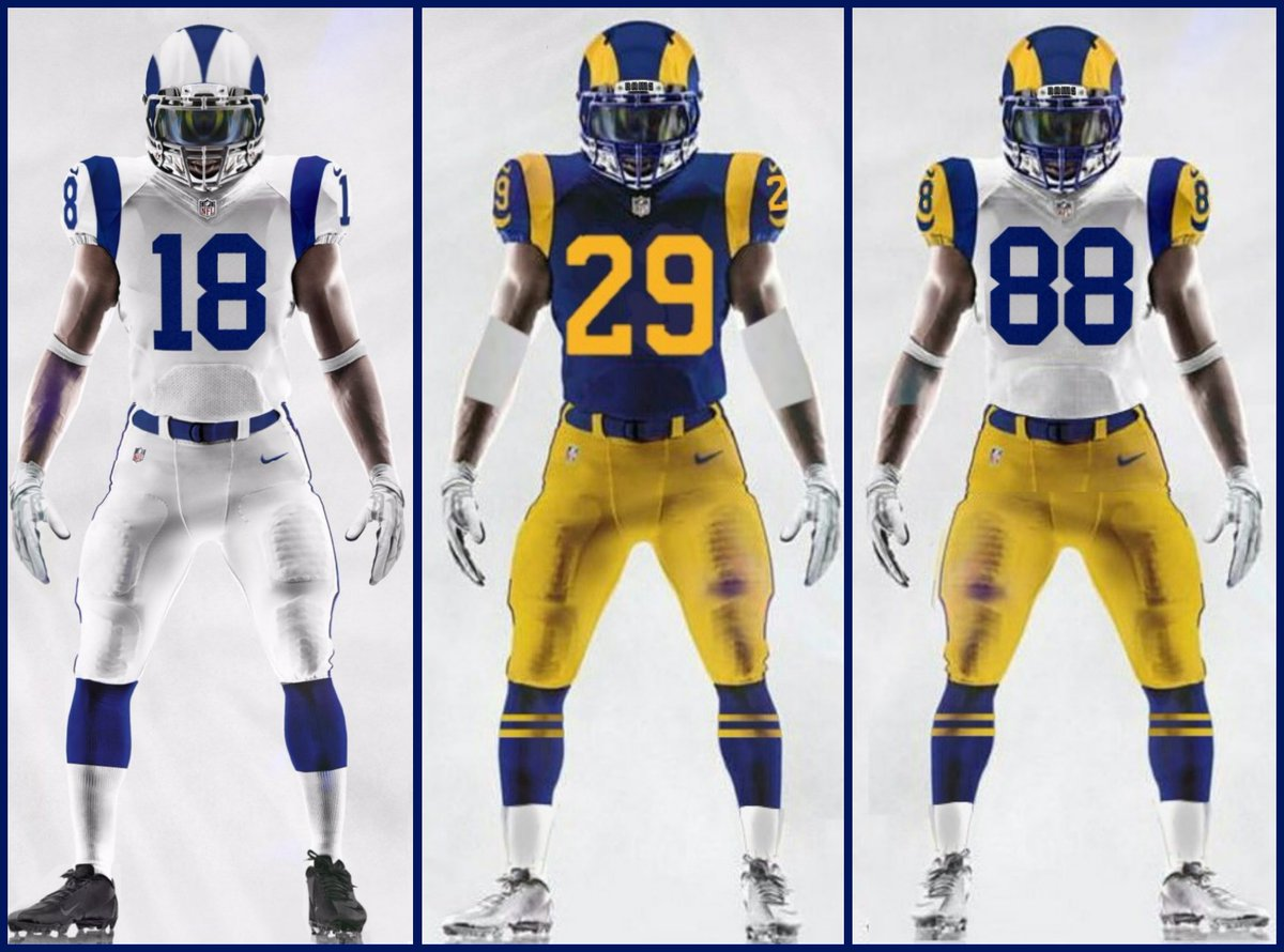Question: if blue/yellows are now Rams primary unis & whites are away uniform, do Rams technically have a throwback right now? This only opens the door for Rams to bring a white throwback into mix this year.