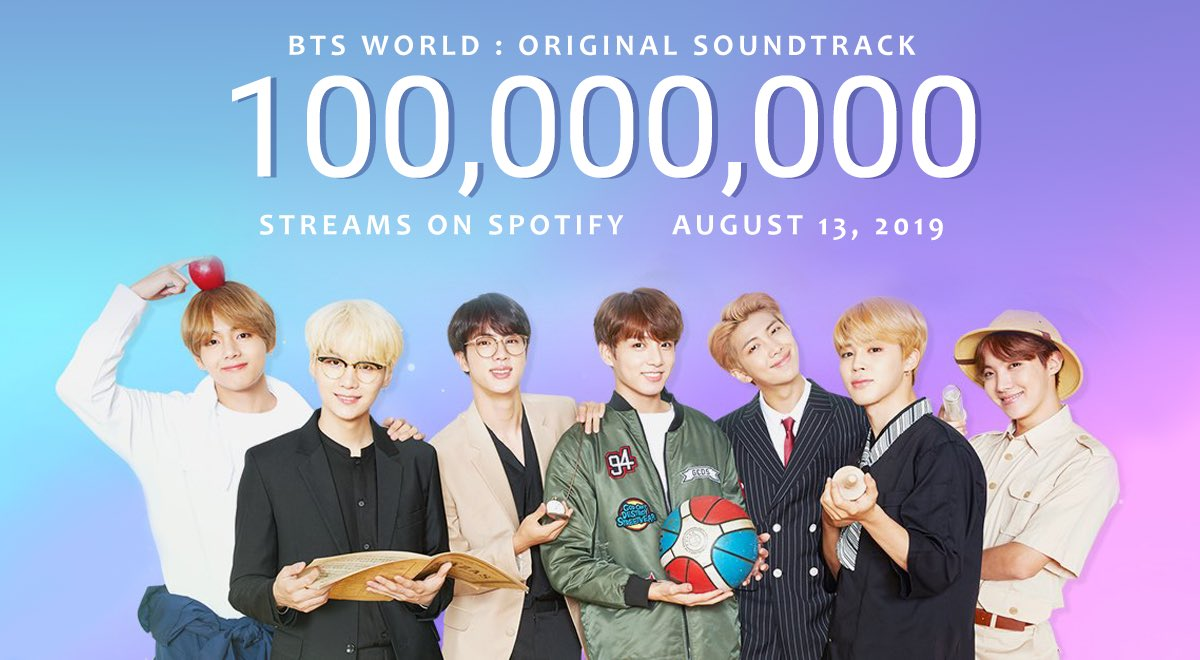 """.@BTS_twt's """"BTS World OST"""" has surpassed 100 million streams on Spotify!    There are only 4 songs credited to BTS' Spotify account on #BTSWorld : Heartbeat, Dream Glow, A Brand New Day, and All Night. <br>http://pic.twitter.com/MIVLriXrdi"""