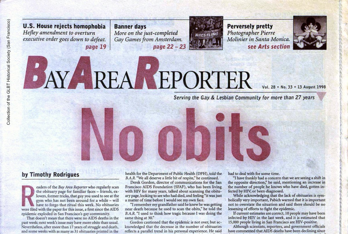 Today marks the 21st anniversary of perhaps the Bay Area Reporter's most famous headline. After 15 years of every issue including obituaries of some of the 18,000 San Franciscans gone from AIDS, breakthroughs in medical technology meant a new era in the epidemic. #twitterstorians <br>http://pic.twitter.com/DqRkXGh5ek