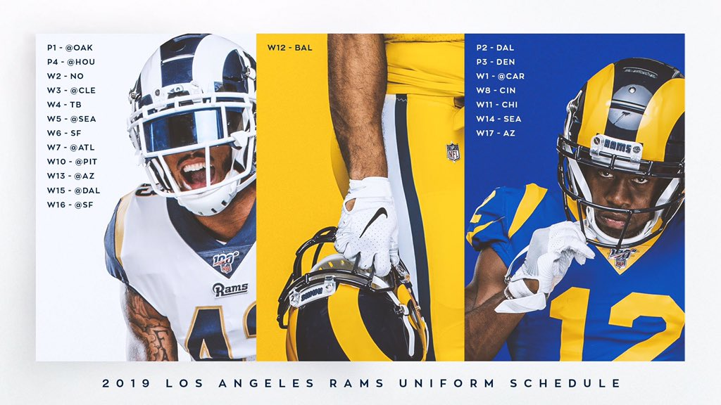 Here's the @RamsNFL uniform schedule for 2019 and what jerseys are actually on sale on @NFLShopEurope Not only are they only selling a jersey that the Rams no longer wear, it's at full price. Please retweet to make unsuspecting customers aware of this.