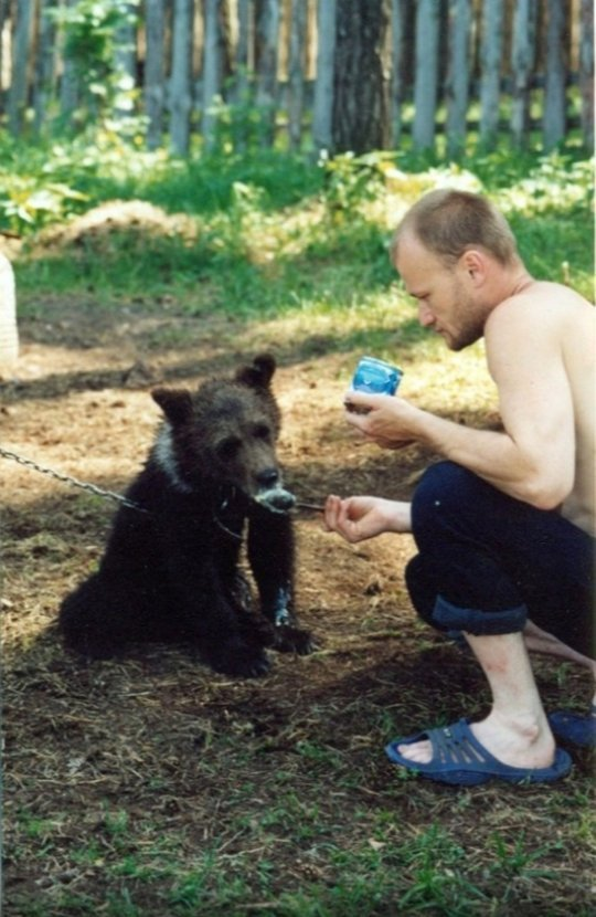 熊は危険だから射殺は仕方ないとか言ってる人、セルゲイさんと熊のメンブラーの話知らないの? ロシアのセルゲイさんって人が森で出会った子熊を育ててたんだけど、メンブラーが大きくなってセルゲイさんのこと食べちゃうまで仲良く暮らしてたんだよ。そういう素敵な関係もあるってこと。