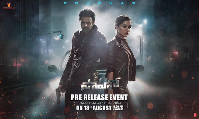 2 pic. Gear up for the biggest night of 2019! 💥 The much awaited #Saaho Pre-Release event all set to