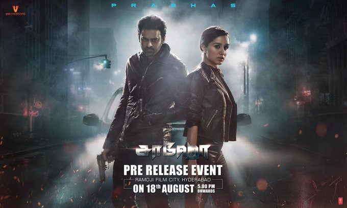 3 pic. Gear up for the biggest night of 2019! 💥 The much awaited #Saaho Pre-Release event all set to