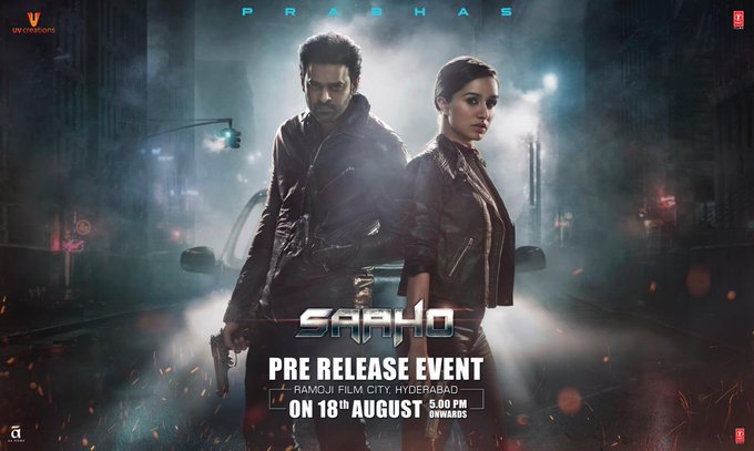 1 pic. Gear up for the biggest night of 2019! 💥 The much awaited #Saaho Pre-Release event all set to