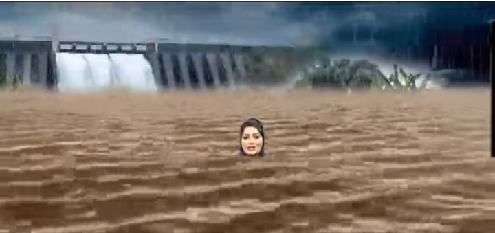 .@btvnewslive drowns anchor with special effects to show severity of #KarnatakaFloods. #NLShorts newslaundry.com/shorts/btv-new…