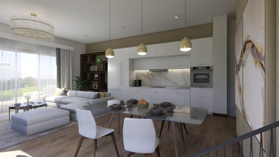 Homestyler Interior Design On Twitter 3 Rooms In One Kitchen Living Dining Area Designed By Inessa Inessencija Amazing Use Of The Space Love The Floor To Ceiling Window