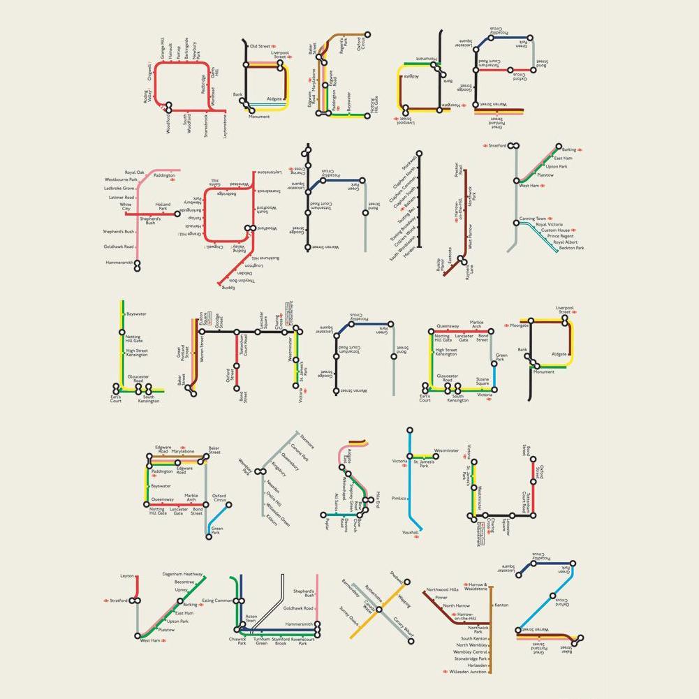 """Woensdag=alfabetdag! Voor iedereen die nog lekker op reis is óf juist weer net is begonnen met werken: dit fraaie """"metroplattegrond""""-alfabet! Bron: design by Tim Fishlock via Pinterest #alfabet #lettersleren #lerenlezen #letterpret #leesplezier"""