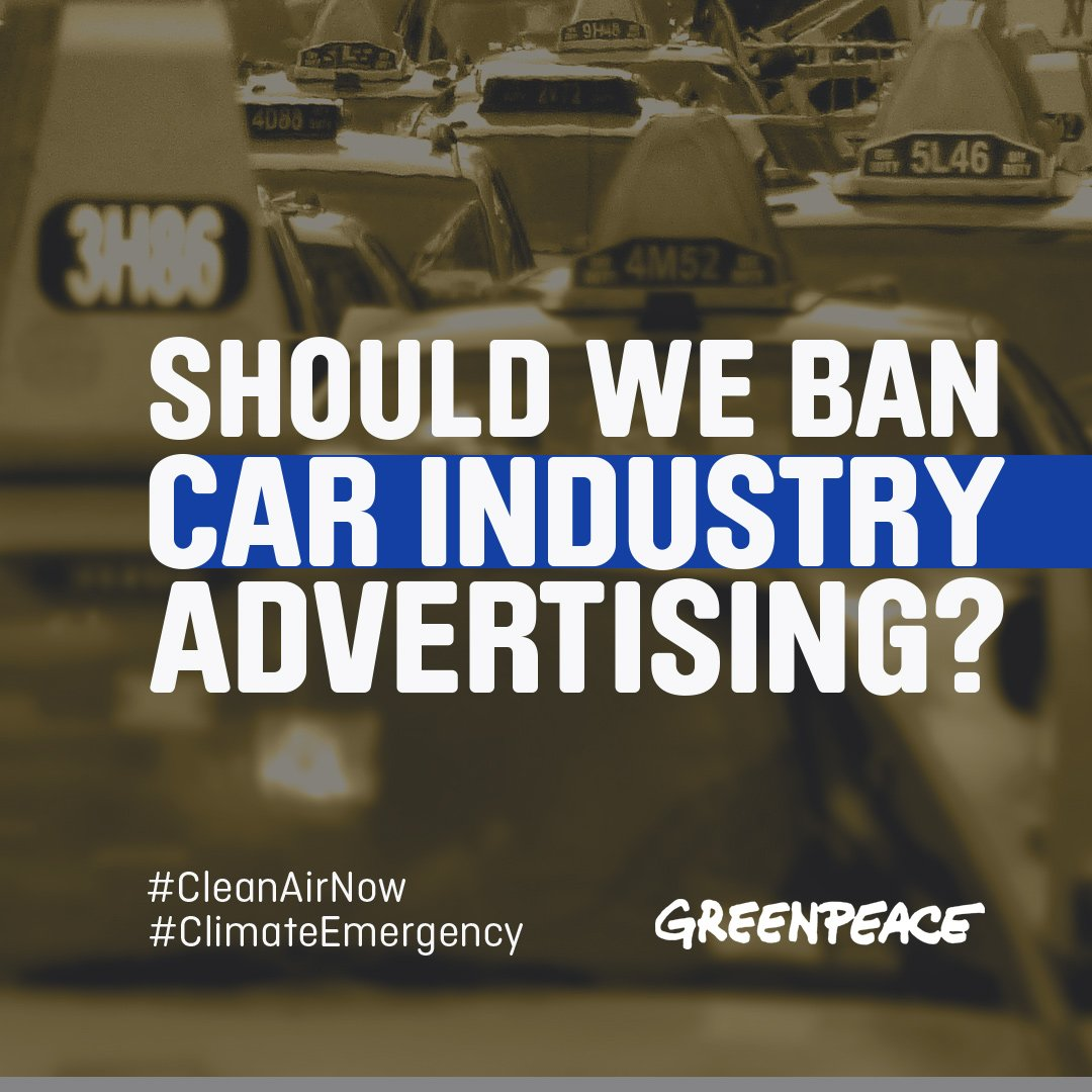 """Greenpeace ar Twitter: """"Time we treated the car industry as"""