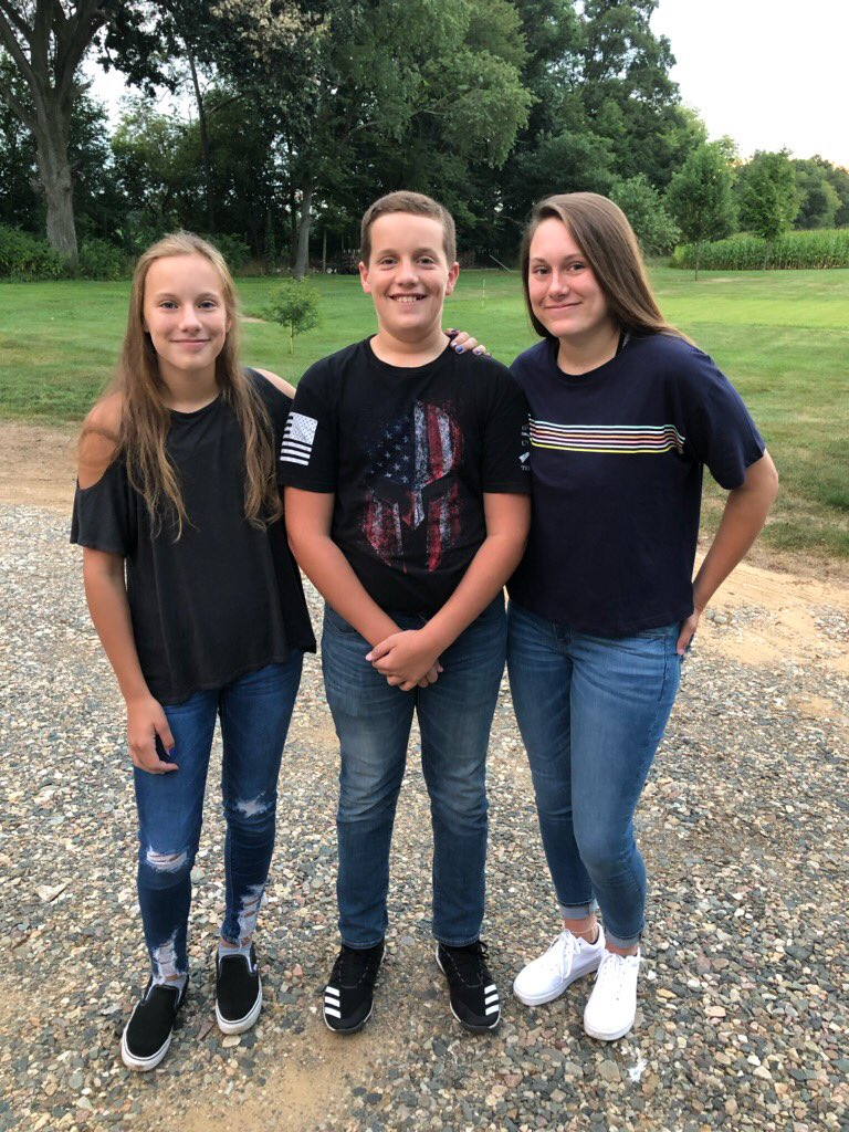 Back to school today... Emily-7th, Wade-8th, and Molly is a senior! Goes by so fast...🥺❤️