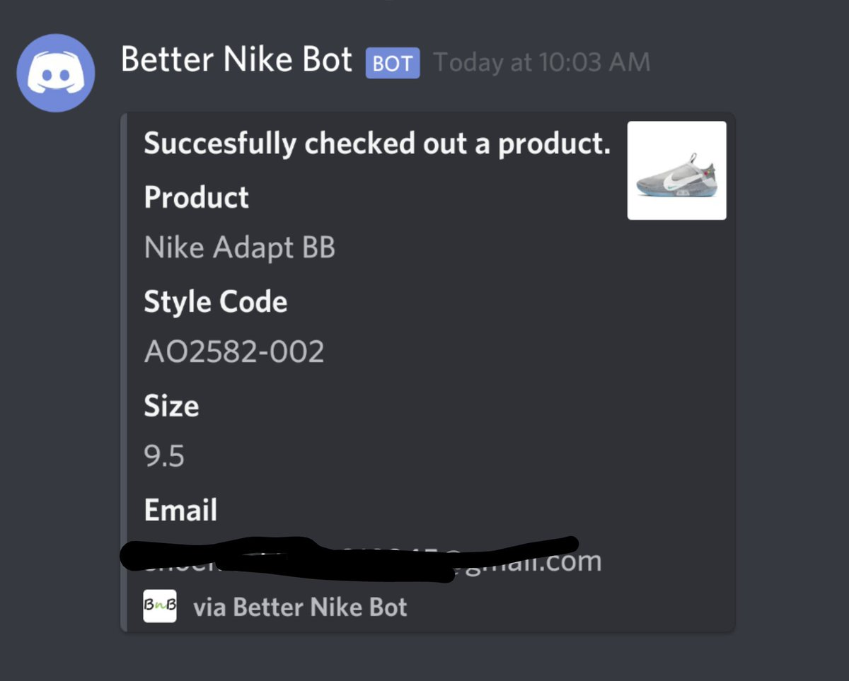 Thanks again! Bot: @BetterNikeBot is back! Proxies
