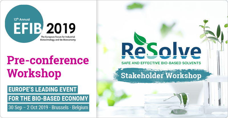 test Twitter Media - The #ReSolve stakeholder workshop will kick off #EFIB2019! Register now & join the discussion on how to bring new #biobased solvents into the market 🍃 @BBI2020 @EU_H2020 #Bioeconomy #Indbiotech #H2020 More info here ➡️ https://t.co/H1VrYhSa9n https://t.co/rQeGlGpytE