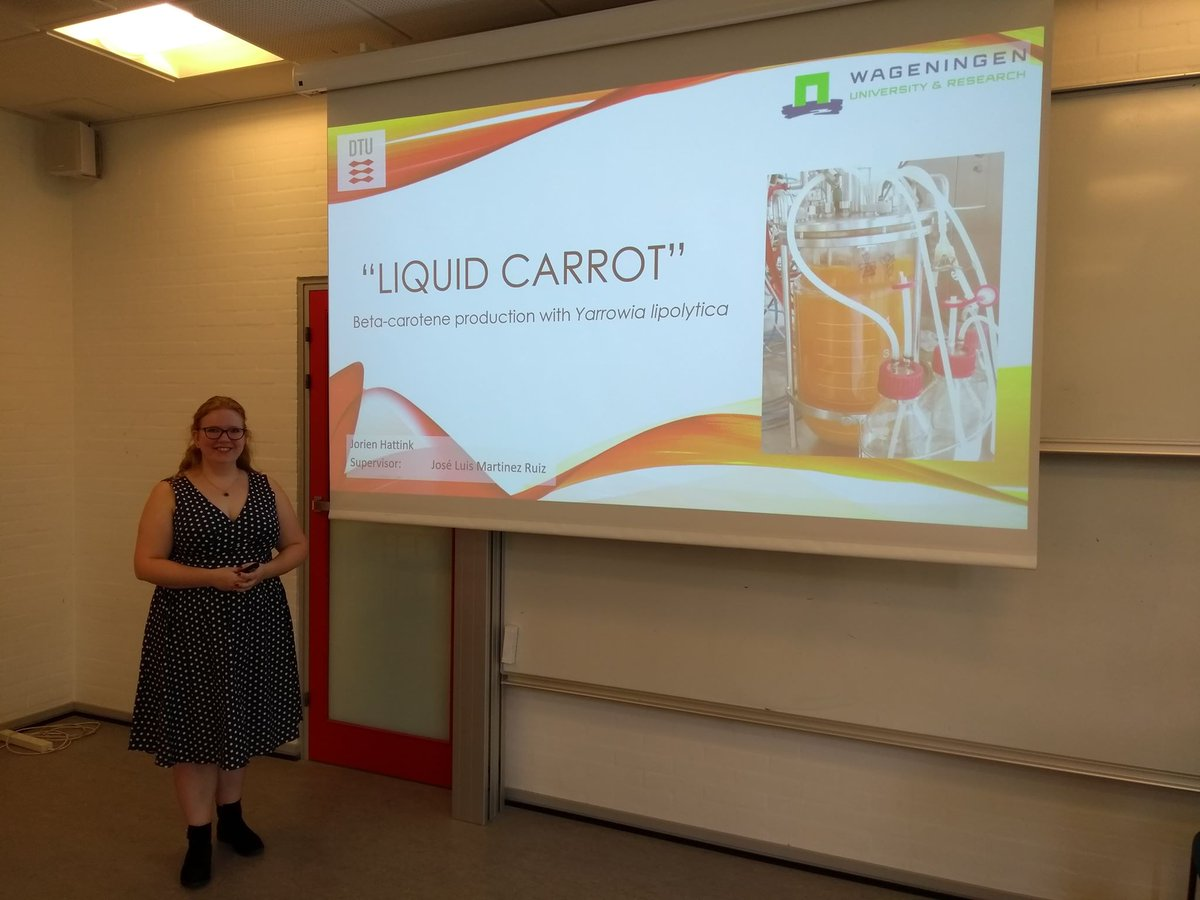 Our visiting student from @WUR at the Fermentation core @DTUbioengineer presenting her impressive work on b-carotene production. Great presentation and fantastic job done Jorien! (@HattinkJorien ) #DTU #Fermentation #Syntheticbiology #Yarrowia