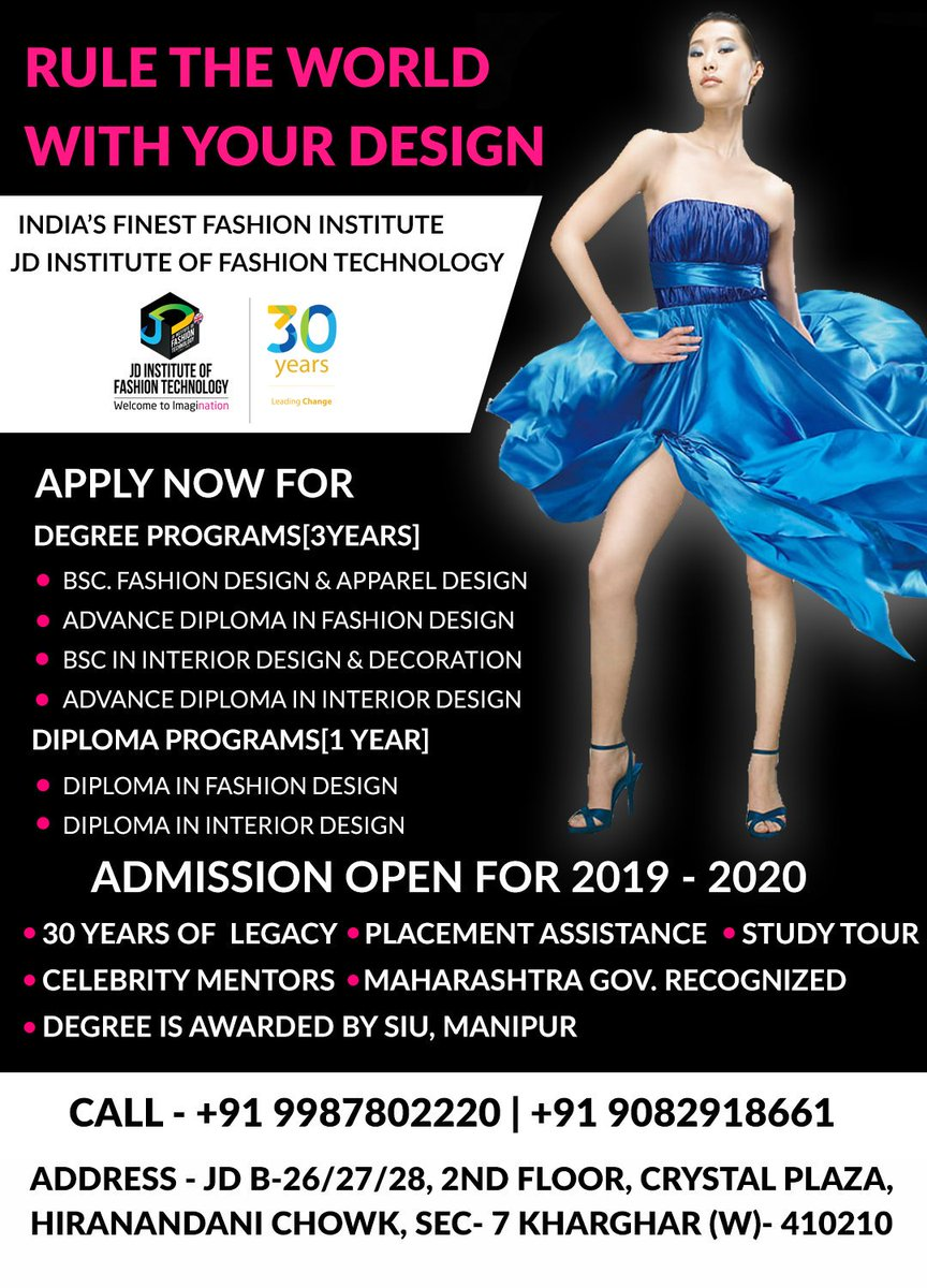 Jd Institute Of Fashion Technology On Twitter Kick Start Your Fashion Designing Career Make It Big In Designing 100 Placement Assistance Jdinstituteoffashiotechnology Fashion Interior Institute Admissionopen Fashiondesining