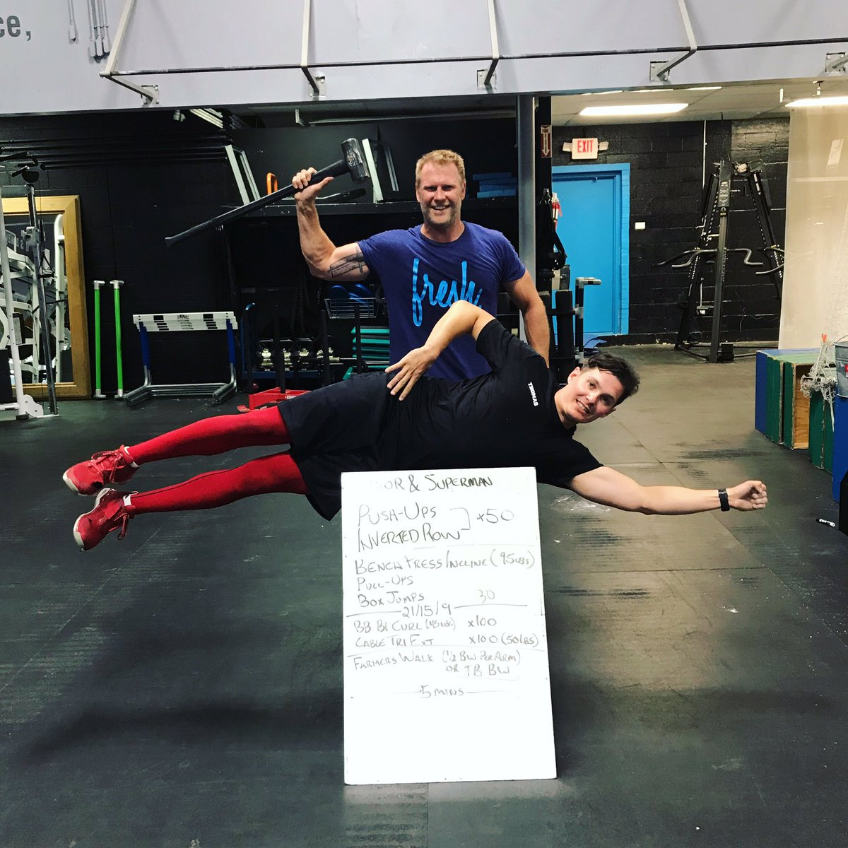 Just a typical superhero workout day for our client @crofty306 with @tommyguns585   #SummerTraining #Thor  #Superman #FunWorkout<br>http://pic.twitter.com/lKeYdf62l3