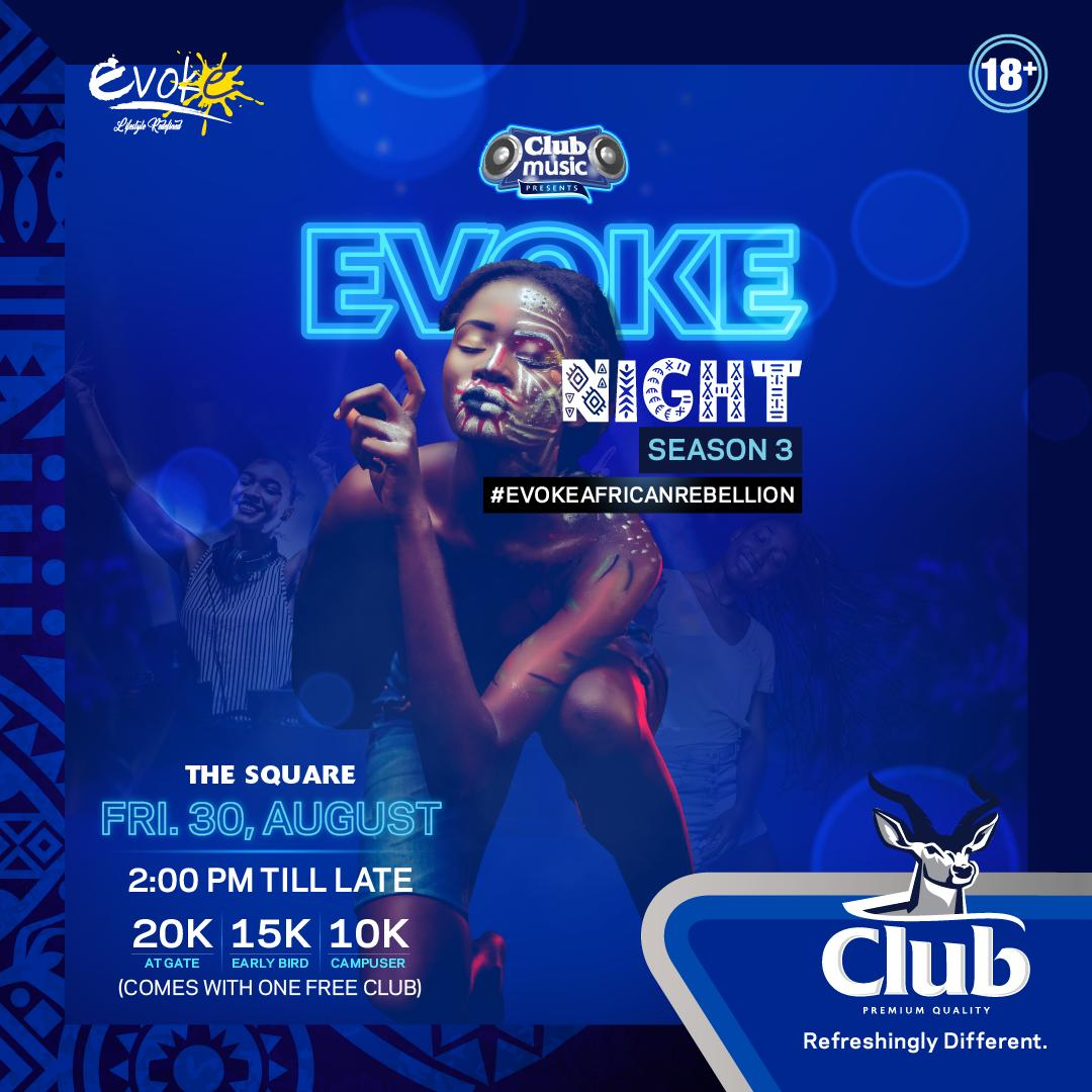 Taking it back to our roots! It's an African edition of #ClubEvokeNights to showoff the core of arts and crafts. Are you as excited as we are for this #EvokeAfricanRebellion episode? Book your early bird tickets in time and get ready for August 30th at The Square.<br>http://pic.twitter.com/NSVfK2bOvn