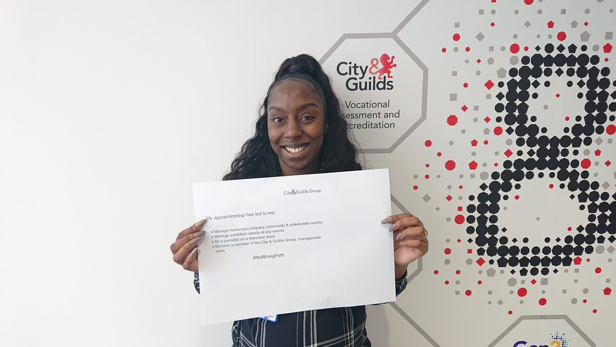 Our former #apprentice Tiana Locker, shares some of the amazing accomplishments her #apprenticeship has led to; including joining the @CityGuildsGroup management team. #NoWrongPath