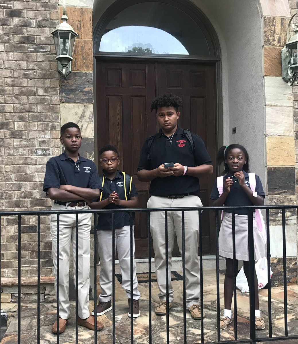 """My kids are thrilled about the first day of school, just beyond irritated that I had to take their """"lame"""" picture. Summer vacation is FINALLY over! 💃🏾😅🙏🏾"""