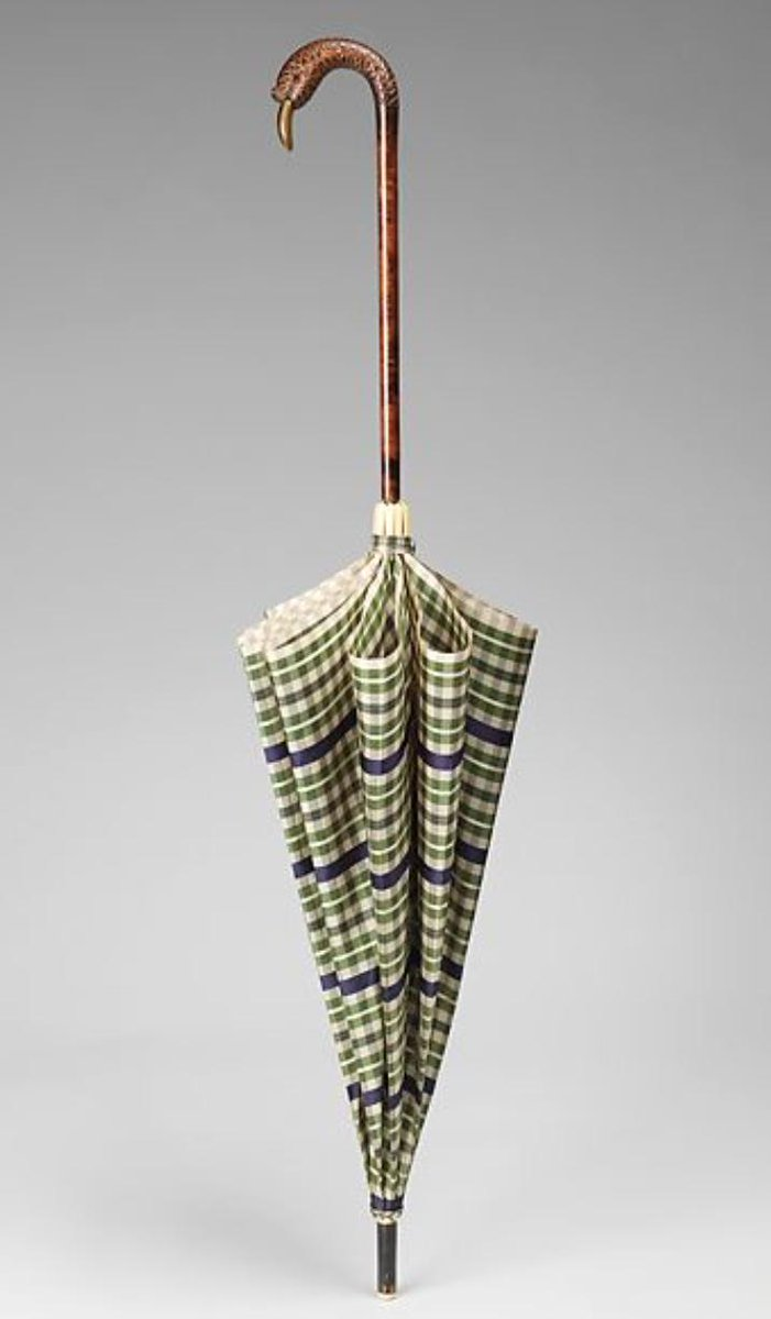 """Developed in the 1860s, the """"en-tout-cas"""" (""""in any case"""") could be used either as a parasol or an umbrella, useful in changeable summer weather. This silk example from the the late 1920s includes a stern-faced duck as its handle.  (Wet afternoon, 1930, by Ethel Spowers) <br>http://pic.twitter.com/T7LeeMcjpn"""
