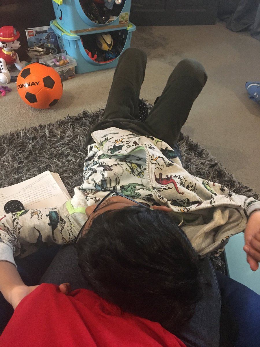 Me: so daughter is at a play date, I can get some editing done. Son will be happy playing by himself for a bit.   Son: Err, dream on mum. I think I'll just plonk myself here. On top of you and your work.   #authorflattenedbyson<br>http://pic.twitter.com/FwaSN2RB4o