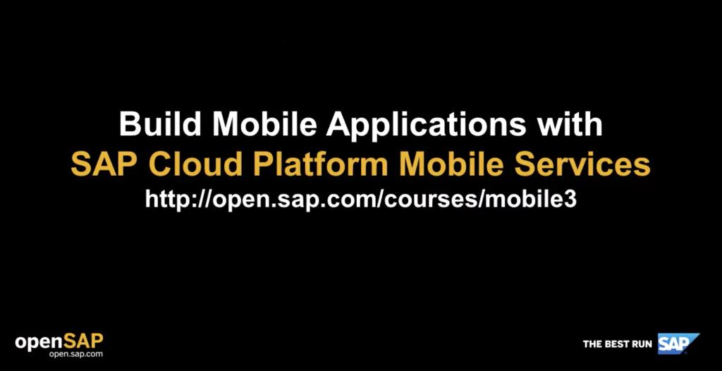 Less than a week to go, sign up for upcoming @opensap course and learn how to build Mobile Applications with SAP Cloud Platform Mobile Services  http://sap.to/6014E2ytY @sapcp @sapdevs @SAPCommunity