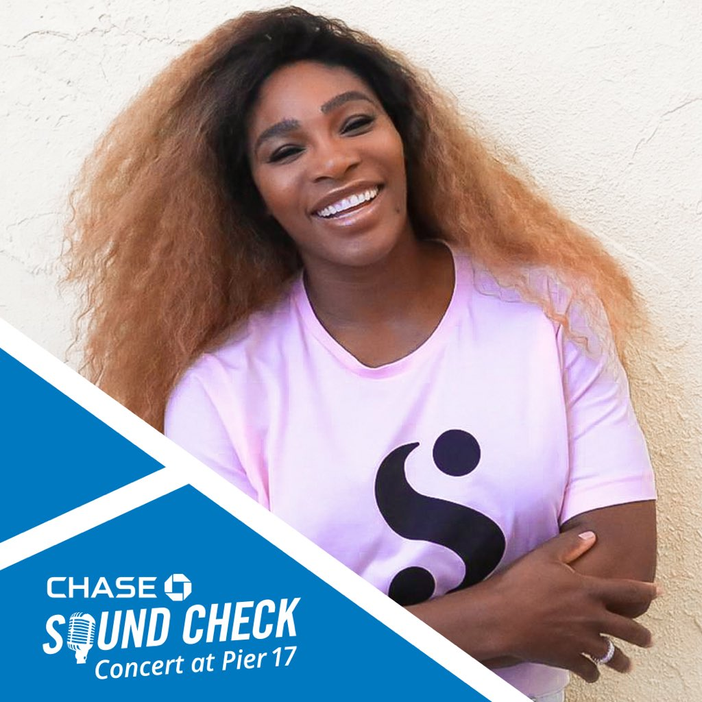 NYC! Cant wait to see you at the #ChaseSoundCheck on 8/20 where Ill be debuting an exclusive t-shirt from my @ShopSerena collection. @Chase Sapphire cardmembers head over to chase.com/experiences for a chance to meet me before the show! (Packages are limited)