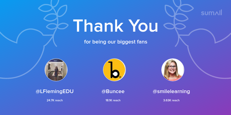 Our biggest fans this week: LFlemingEDU, Buncee, smilelearning. Thank you! via sumall.com/thankyou?utm_s…
