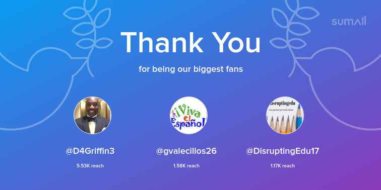 Our biggest fans this week: D4Griffin3, gvalecillos26, DisruptingEdu17. Thank you! via sumall.com/thankyou?utm_s…
