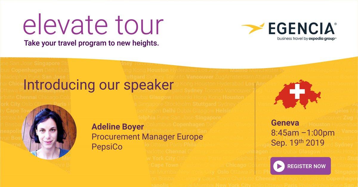 Adeline Boyer, Procurement manager chez PepsiCo rejoint le rang des panelistes à l'événement business travel de Genève le 19 septembre! Découvrez les autres speakers et inscrivez-vous dès maintenant >> https://t.co/k6PrBerh6H https://t.co/Uv1diD3OHt