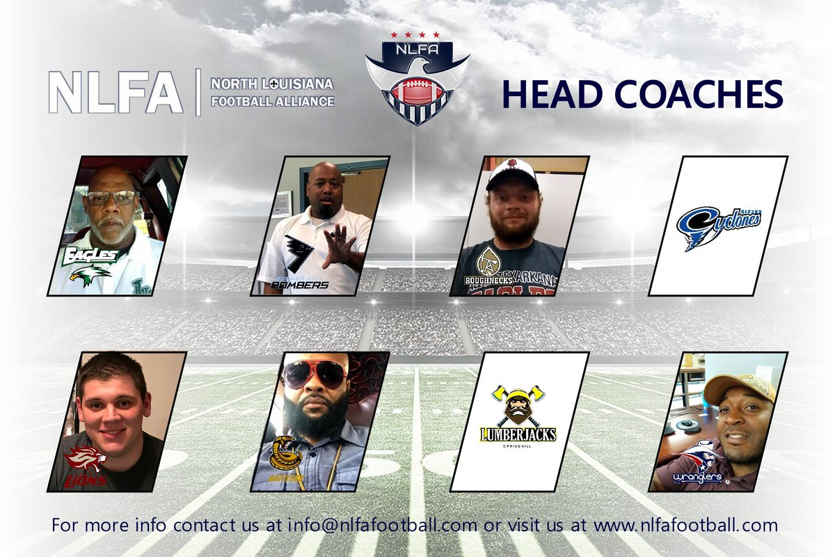 The North Louisiana Football Alliance has two GM/Head Coach positions left to fill for the following teams:  Minden, Louisiana (Cyclones) | Springhill, Louisiana (Lumberjacks)  #NLFA2020 #SemiPro #SemiProFootball #AmericanFootball  #ArkLaTex #coaching #footballcoaches<br>http://pic.twitter.com/CbHUHFqeTV