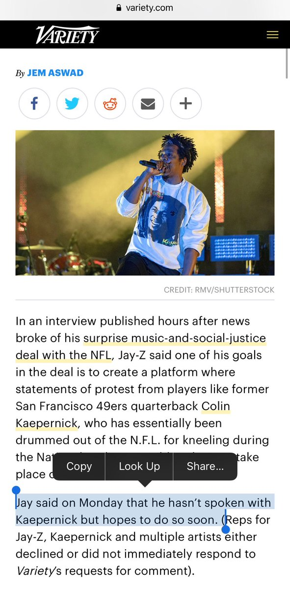 THIS is a lie. COLIN never spoke to Jay-Z and NFL ahead of that deal being done. They NEVER included him in any discussion  👉🏽 https://t.co/TWmoXS4JVJ https://t.co/2bjSIEtnjQ