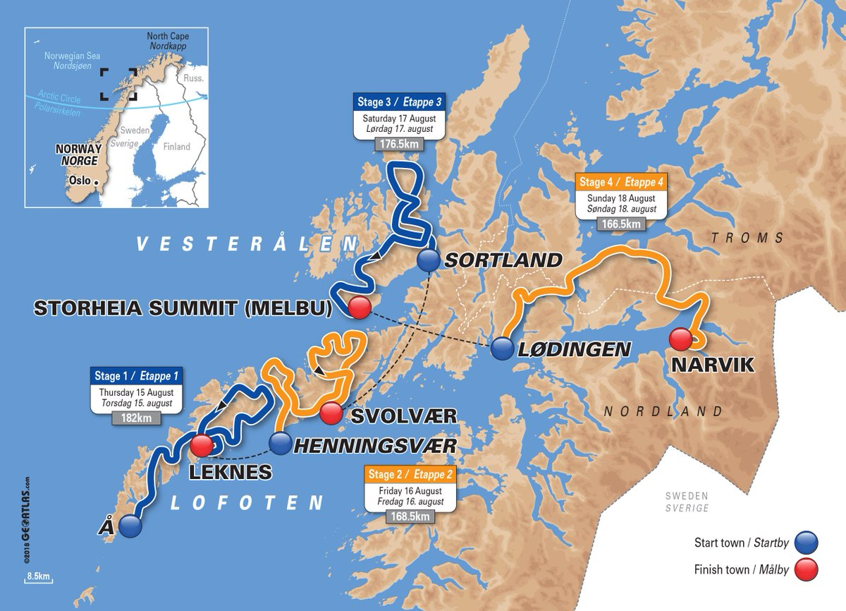 Coming to Northern Norway 15-18th of August? Then you might witness the northernmost cycling race in the world and meet the world cycling elite! Check out road info bit.ly/30u5YNa #ArcticRace #visitnorway #ARN2019 @ArcticRaceofN
